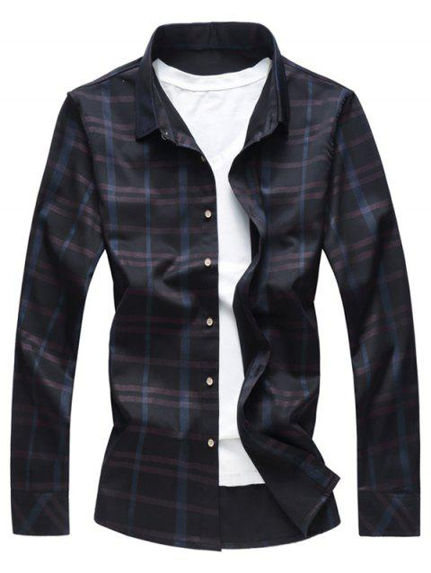Button Up Binking Checked Shirt - BLACK L