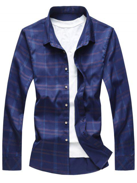 Button Up Binking Checked Shirt - BLUE S