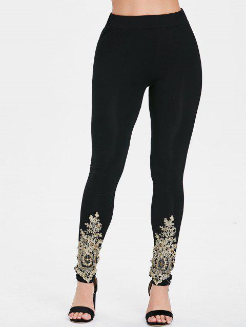 Vintage Crochet Brim High Waist Leggings - BLACK M