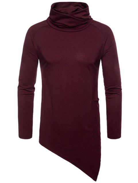 Solid Color Side Pocket Asymmetric Hem T-shirt - RED WINE XL