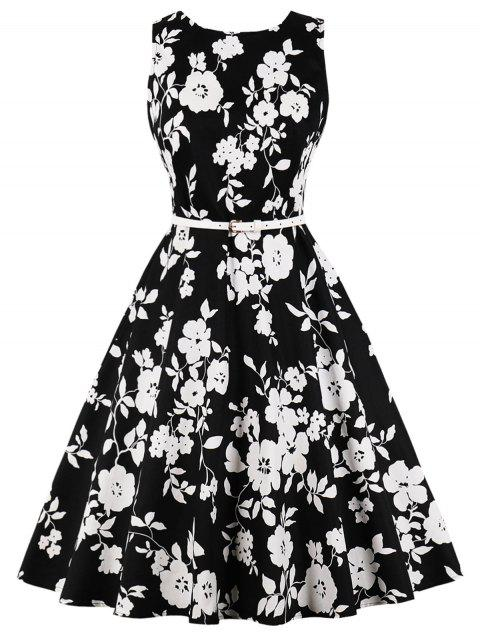 Retro Floral Print High Waist Dress - BLACK L