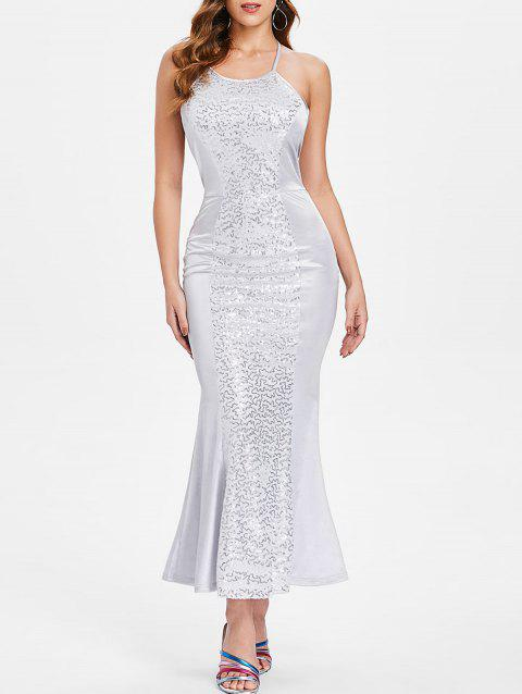 Backless Maxi Sequin Dress - SILVER M