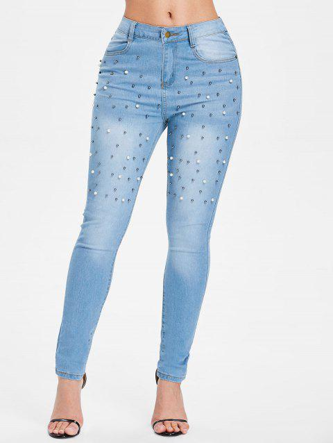 High Waist Skinny Jeans with Beads - WINDOWS BLUE L
