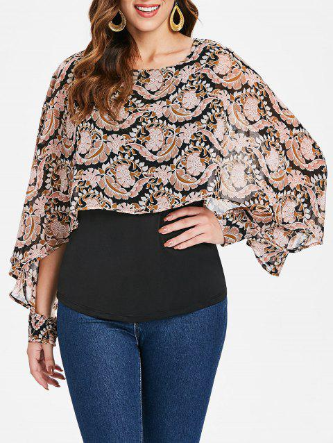 Floral Print Cape Top - multicolor S