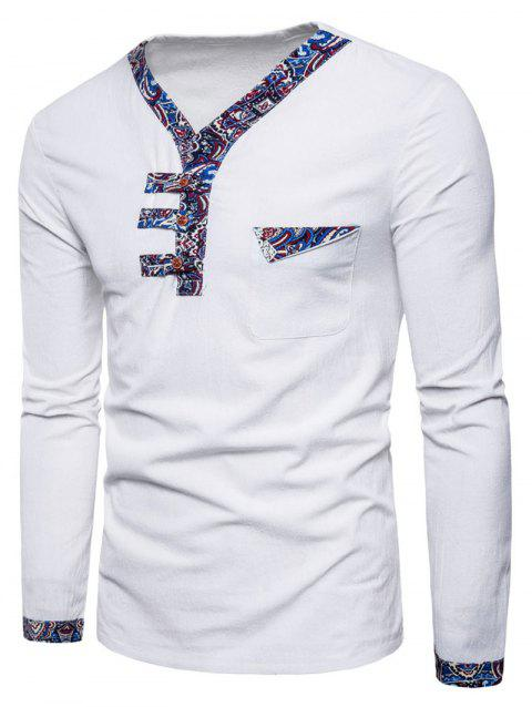 Ethnic Stripes Edge Patch Chest Pocket Long Sleeve Tee - WHITE L