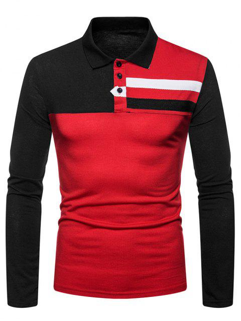 Color Block Chest Striped Patchwork Long Sleeve T Shirt - CHESTNUT RED XL