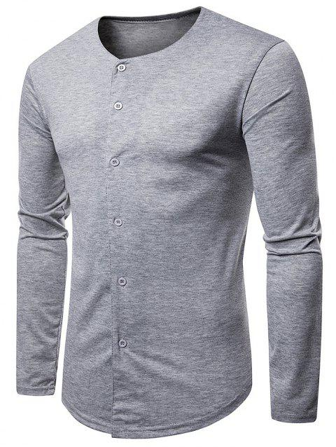 Round Neck Button Up Casual T-shirt - LIGHT GRAY L