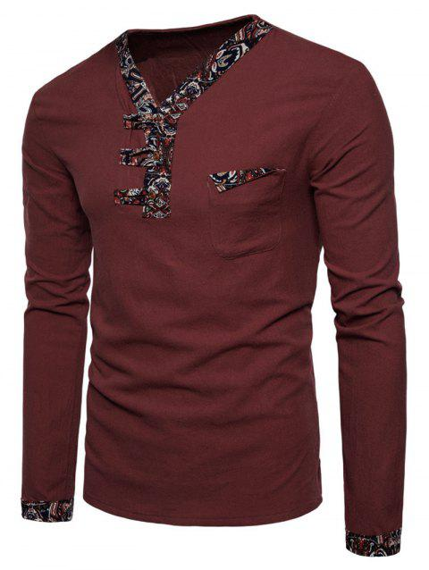 Ethnic Stripes Edge Patch Chest Pocket Long Sleeve Tee - CHESTNUT RED L