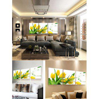 Flower and Music Print Unframed Canvas Paintings - multicolor 3PCS:20*20 INCH( NO FRAME )