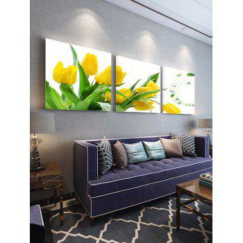 Flower and Music Print Unframed Canvas Paintings - multicolor 3PCS:24*24 INCH( NO FRAME )