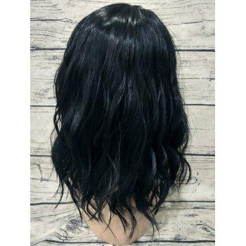 Heat Resistant Synthetic Medium Center Parting Natural Wavy Wig - BLACK