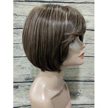 Flip Side Bang Short Straight Colormix Synthetic Wig - BROWN