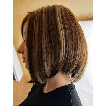 Inclined Bang Highlight Straight Short Bob Capless Synthetic Wig - multicolor