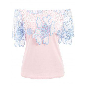 Off The Shoulder Lace Insert Top - LIGHT PINK XL