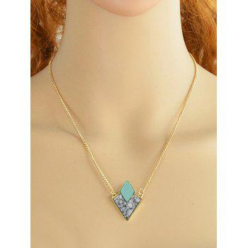 Faux Turquoise Collarbone Necklace - GREEN