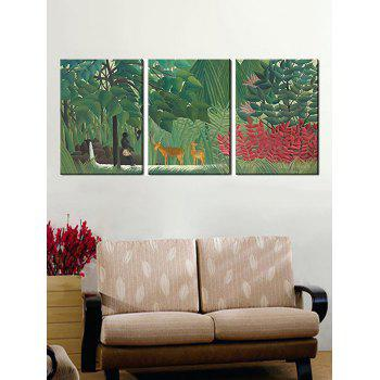 Primary Forest Print Unframed Canvas Paintings - multicolor 3PC:12*18 INCH( NO FRAME )