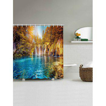 Lake In The Forest Print Waterproof Shower Curtain - multicolor W65 INCH * L71 INCH