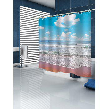 Beach Clear Day Print Waterproof Shower Curtain - multicolor W65 INCH * L71 INCH