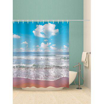 Beach Clear Day Print Waterproof Shower Curtain - multicolor W71 INCH * L71 INCH