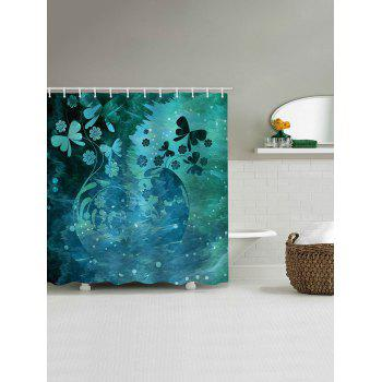Butterfly Flower Print Waterproof Shower Curtain - multicolor W65 INCH * L71 INCH