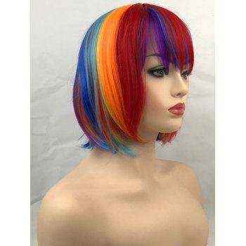 Short Colorful Straight Bob Cosplay Party Synthetic Wig - multicolor