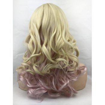 Long Side Bang Colormix Wavy Cosplay Party Synthetic Wig - multicolor