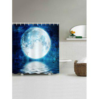 Moon Starry Sky Print Waterproof Shower Curtain - DEEP BLUE W71 INCH * L79 INCH