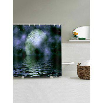 Ocean Moon Galaxy Print Waterproof Shower Curtain - multicolor W65 INCH * L71 INCH