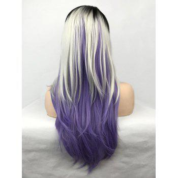 Layered Colormix Long Straight Cosplay Party Wig - multicolor