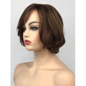 Inclined Bang Short Straight Colormix Capless Synthetic Wig - multicolor