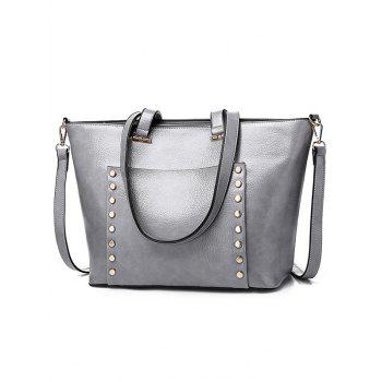 Chic All Purpose Convertible Studs Shoulder Bag - SILVER