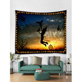 Halloween Witch Sunset Print Tapestry Wall Art - multicolor W59 INCH * L59 INCH