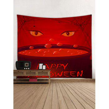 Happy Halloween Eyes Print Tapestry Wall Art - RED W59 INCH * L51 INCH