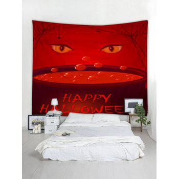 Tapisserie Murale à Imprimé Yeux et Inscription Happy Halloween - Rouge W79 INCH * L59 INCH