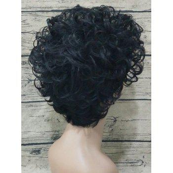 Short Oblique Bang Fluffy Curly Capless Synthetic Wig - BLACK