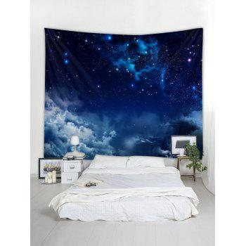 Starry Clouds Print Tapestry Wall Art - LAPIS BLUE W91 INCH * L71 INCH