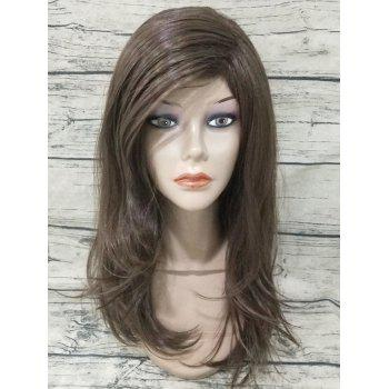 Inclined Fringe Long Straight Capless Synthetic Wig - BROWN