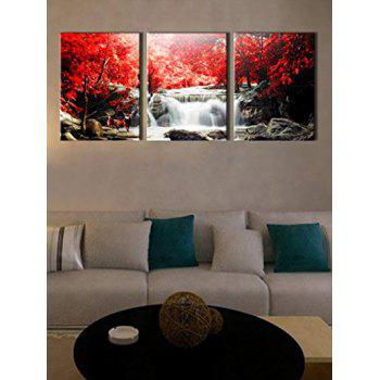 Unframed Mangrove Falls Pattern Canvas Paintings - multicolor 3PCS:24*35 INCH( NO FRAME )