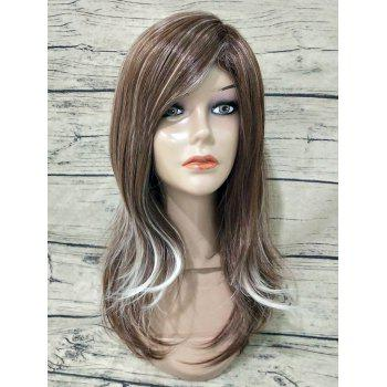 Inclined Fringe Long Straight Colormix Synthetic Wig - multicolor