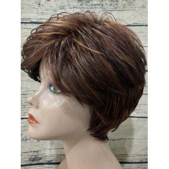 Inclined Bang Short Colormix Texture Straight Synthetic Wig - multicolor