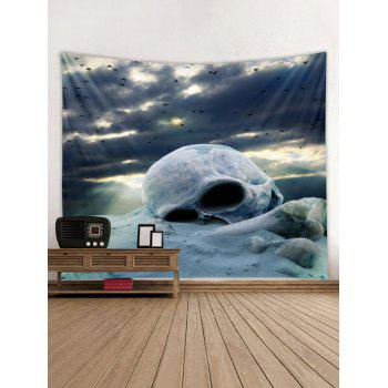 Cloudy Day Skull Print Tapestry Wall Art - BLUE GRAY W79 INCH * L59 INCH