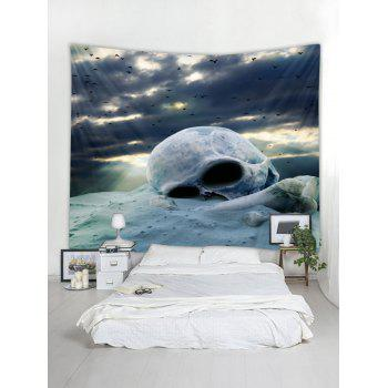 Cloudy Day Skull Print Tapestry Wall Art - BLUE GRAY W118 INCH * L79 INCH