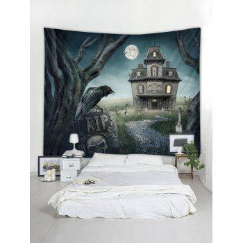 Halloween Castle Print Tapestry Wall Art - multicolor W118 INCH * L79 INCH