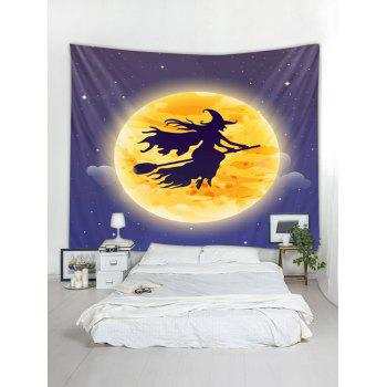Halloween Moon Witch Print Tapestry Wall Art - ORANGE W91 INCH * L71 INCH