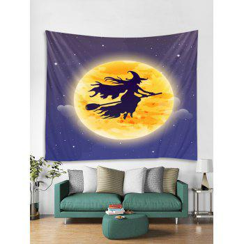 Halloween Moon Witch Print Tapestry Wall Art - ORANGE W118 INCH * L79 INCH