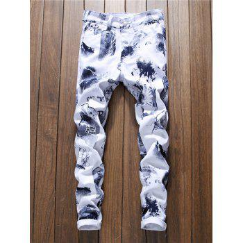 Zipper Fly Casual Graphic Jeans - SLATE GRAY 34