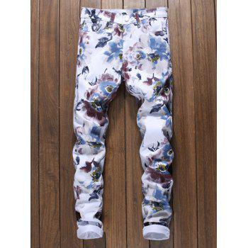 Zipper Fly Flowers Painting Print Jeans - multicolor 32