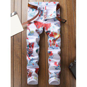 Catwalk Dressed Lady Print Zipper Fly Casual Jeans - multicolor 36