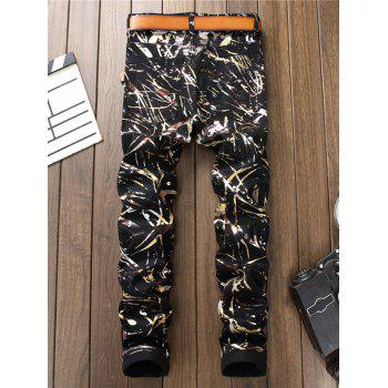 Shiny Abstract Painting Print Zipper Fly Jeans - BLACK 32