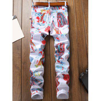 Catwalk Dressed Lady Print Zipper Fly Casual Jeans - multicolor 34